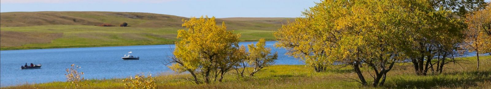 Boats on Lake Diefenbaker
